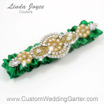 Green and Gold Vintage Wedding Garter Rhinestone 684 Emerald Green Kelly Custom Made Luxury Prom Garter Plus Size & Queen Size Available
