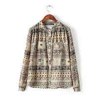 Patterned Elephant Print Mandarin Collar Long-Sleeve Shirt