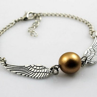 Harry Potter New Silver Pearl Angel Wings Jewelry Dove Peace Bracelet