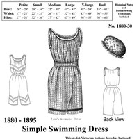 Victorian Bathing Suit Pattern, New Easy Historical Multi Size Sewing Pattern - 1880-30