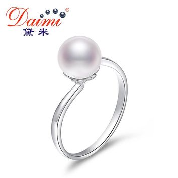 Simple Elegant Ring  Round River Pearl Ring Sterling Silver Ring Fine Jewelry