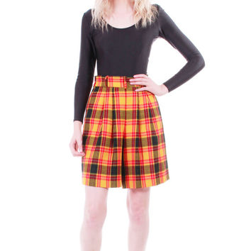 90s High Waist Plaid Shorts Wide Leg Pleated Yellow Red Black Clueless Grunge Goth Summer Vintage Shorts Womens Size XS