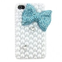 3D Green Hand Made Bow Crystal Diamond Pearls Bling Hard Case Cover Shell for Apple Iphone 4 4 4s