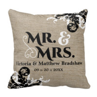 Rustic Burlap Look Mr. and Mrs. Wedding Throw Pillows