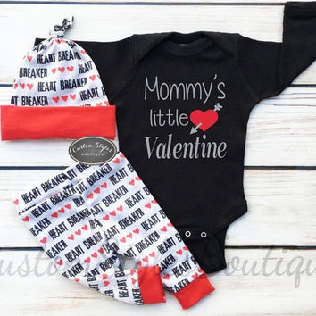 Baby Boys First Valentine's Day Outfit,My 1st Valentine's Day,Red And Grey Leggings & Hat With Red Cuffs,Baby Boys Coming Home Outfit