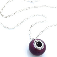 Pearl Charm Necklace, Purple, Drop, Blackberry, Round Pendant, Swarovski
