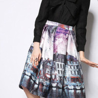 City Print A-Line Mini Skater Skirt