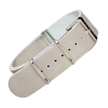 22mm Grey Leather NATO - Silver Buckle
