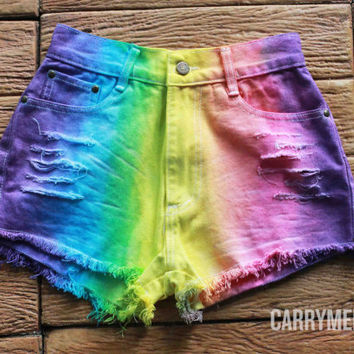 Tie dye Shorts Denim Tye Dye High Waisted Jean