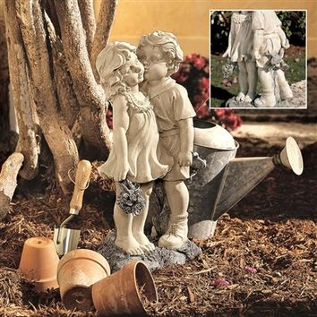 SheilaShrubs.com: Young Sweethearts - Kissing Children Garden Statue NG30739 by Design Toscano: Garden Sculptures & Statues