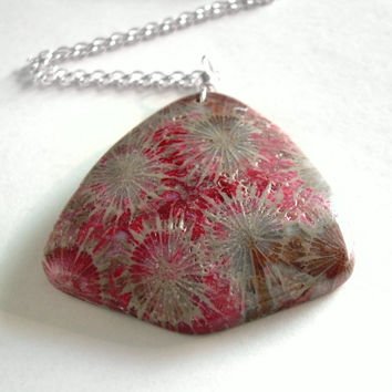 Coral Fossil Necklace, Red & Brown Fossilized Coral Pendant, Science Jewelry