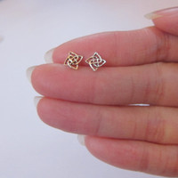 Sterling Silver Celtic knot Stud Earrings, Cartilage Earring, Knot Stud Earrings