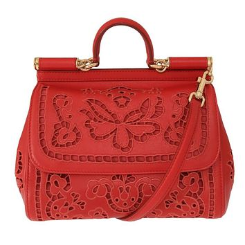 Red SICILY Floral Cutout Leather Bag