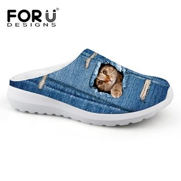 Unisex Animal Print Denim Breathable Mesh Slippers/Sandals/Slides