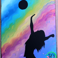 Sports wall decoration.Volleyball girl silhouette with rainbow hand painted background wall decorative decoration.