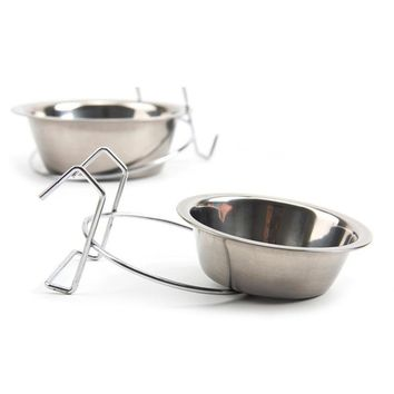 S M L Sizes Stainless Steel Hanging Dogs Bowl