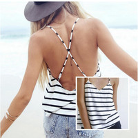Black and White Striped Cross Back T-Shirt