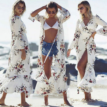 2017 NEW Women Summer Beachwear  Long Sleeve Floral Ruffles Beach Dress Cover Ups Long Maxi Dress Sundress Outfit S-XXL