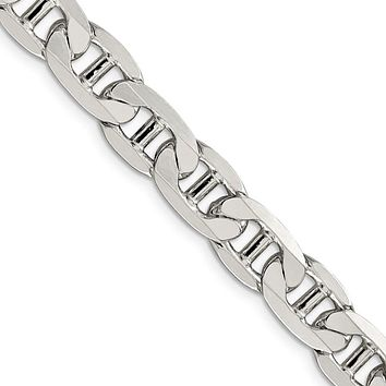 Men's 9.5mm, Sterling Silver, Solid Anchor Chain Necklace