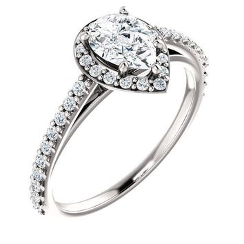0.75 Ct Pear Diamond Engagement Ring 14k White Gold