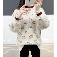 GUCCI Trending Women Stylish Long Sleeve Knit Sweater Pullover Top Sweatshirt Beige