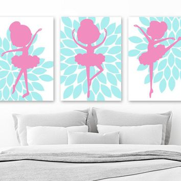 BALLERINA Wall Art, Flower BALLERINA CANVAS or Print, Aqua Pink Baby Girl Nursery Decor, Girl Ballerina Bedroom Wall Decor, Set of 3 Artwork