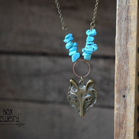 Bohemian Wolf of the Forest Necklace / Turquoise Wolf Necklace