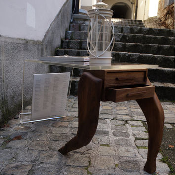 Side table made from walnut  and acrylic glass,walnut  coffee table, nightstand table, wooden table