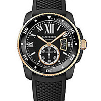 Cartier - Calibre de Cartier Automatic Carbon Diver 18K Pink Gold, ADLC Stainless Steel & Rubber Strap Watch - Saks Fifth Avenue Mobile