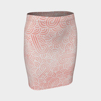 Rose quartz and white swirls doodles Fitted Skirt Fitted Skirt