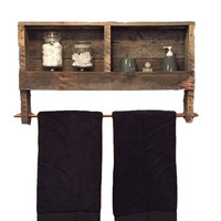 Reclaimed Wood Towel Holder Rack Bathroom Shelves