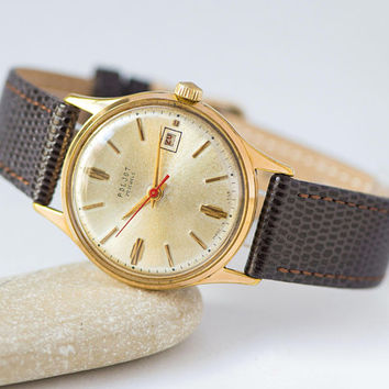 Soviet men's watch Poljot gold plated, vintage shockproof men's watch, automatic watch gift, classic men watch, premium leather strap new