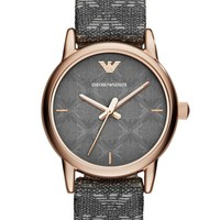 Women's Emporio Armani Logo PVC Strap Watch, 28mm - Grey/ Rose Gold