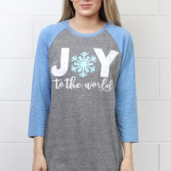 JOY to the World Glitter Snowflake Raglan {Blue}