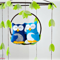 Twin/ Sibling owl mobile - woodland mobile - baby mobile - blue, green and brown - pick your colours - nursery decor - MADE TO ORDER