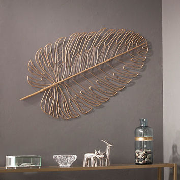 Gold Metal Feather Wall Plaque