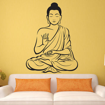 Indian Buddha Statue Wall Decal Sticker Religious OM Yoga Wall Art Decor Mural
