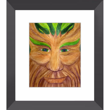 Green Man - Framed Print of Pagan God Watercolor Pencil Fine Art