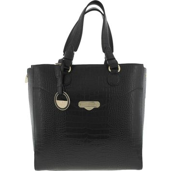 Versace Collection Womens Leather Embossed Tote Handbag