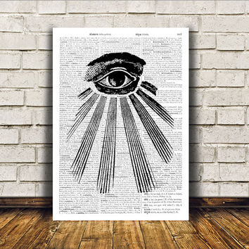 All seeing eye print Illuminati art Occult poster Modern decor RTA157
