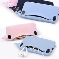 3D Soft Case For iPhone5 5S Big Mouth Whale Cartoon Rubber Phone Case Storage Back Cover Headphones Housing Card Holder