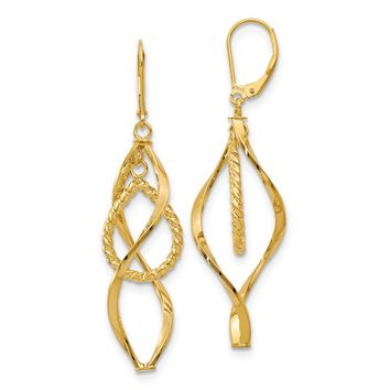 14k Yellow Gold Twisted Dangle Leverback Earrings