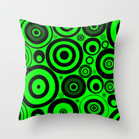 Lime Circles Throw Pillow by Alice Gosling