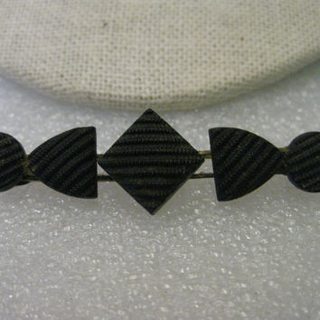 "Antique Early 1900s Mourning Brooch, Black Quilted Glass (Crepe Onyx) Bar Brooch - 2.25"" wide"
