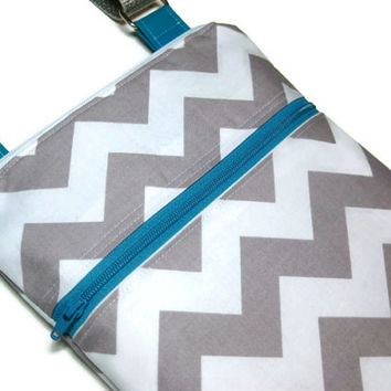 Grey Chevron small purse teal blue accent sling purse cross body bag adjustable strap