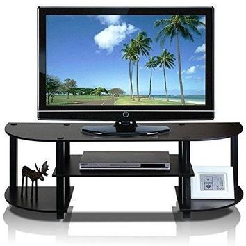 Home TV Stand for Table Entertainment Black Grey Wide levels