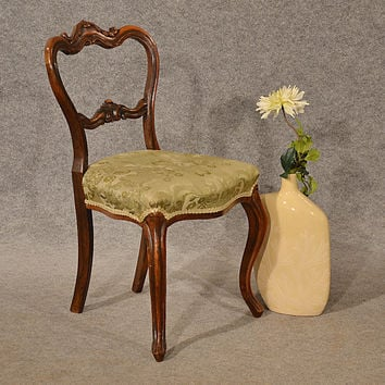 Antique Side Chair Study Desk Hall Dining Seat Victorian Cabriole English c1850