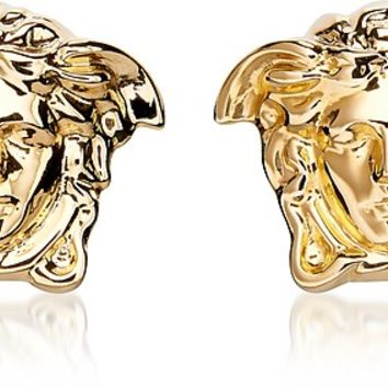 Versace Gold Metal Medusa Stud Earrings