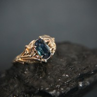 Sapphire engagement ring, branch engagement ring, 14K yellow gold ring, leaves ring, proposal ring, gold promise ring,unique engagement ring