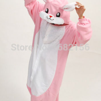 Unisex Adult Onesuit Animal Kawaii Pink Rabbit Pajamas Fleece Onesuit Cartoon Cosplay Costumes Sleepwear S-XL